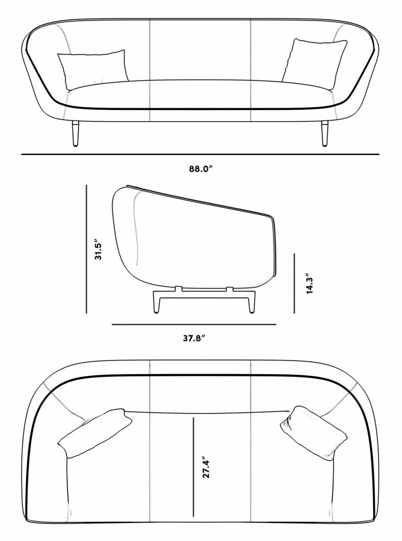 Dimensions for Benedict Sofa
