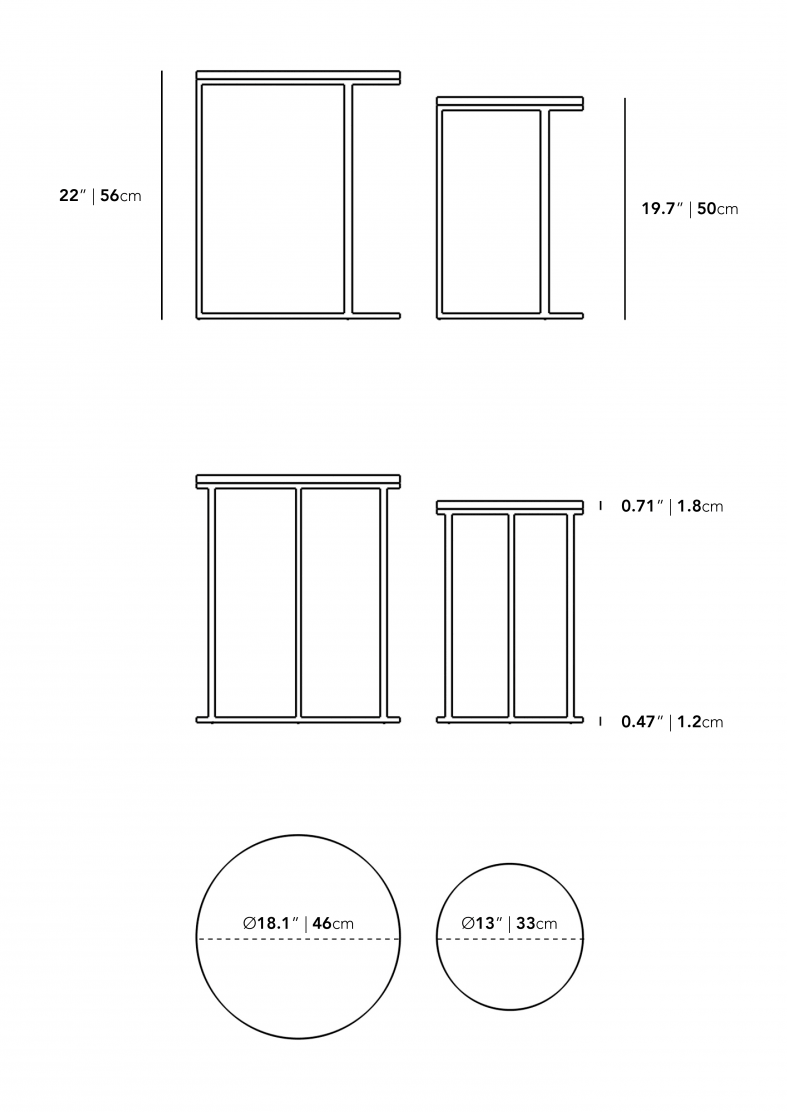 Dimensions for Aaren Nesting Side Table
