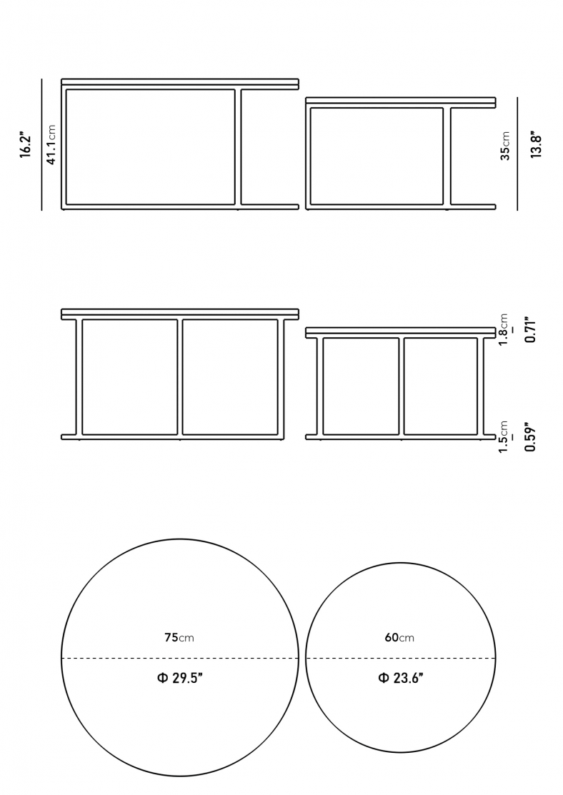 Dimensions for Aaren Nesting Coffee Table