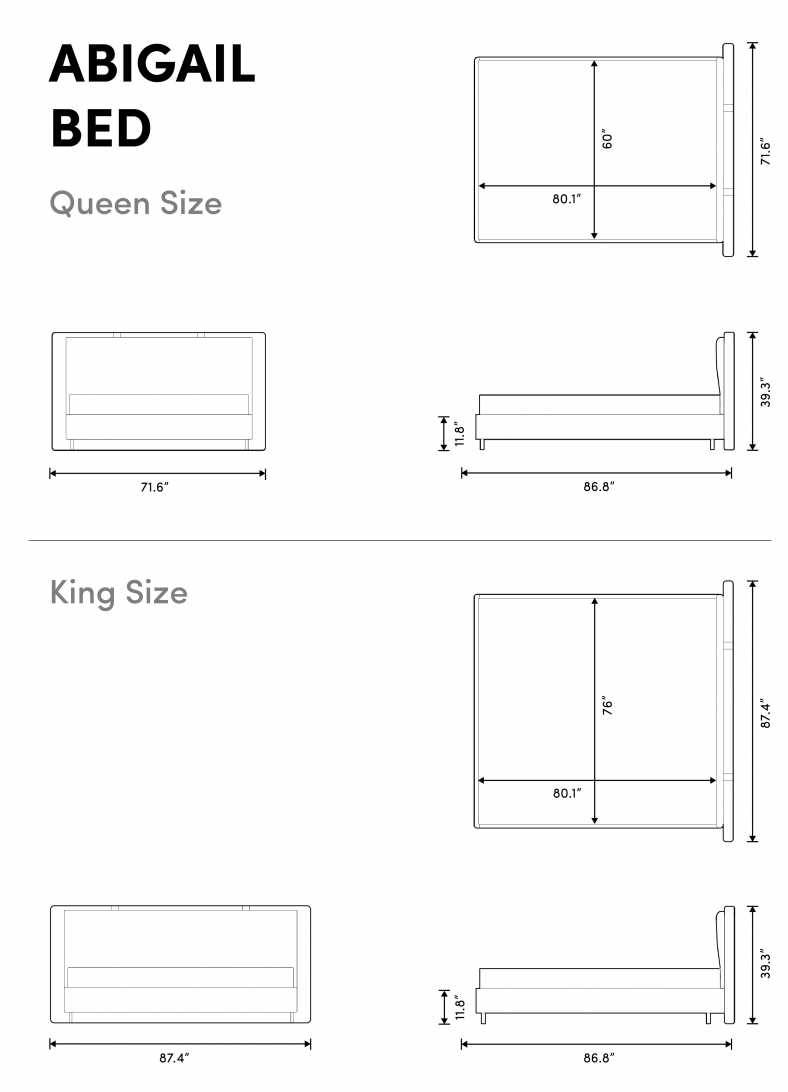 Dimensions for Abigail Bed