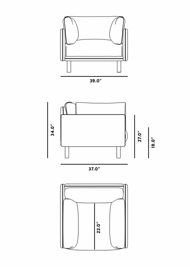 Dimensions for Anderson Armchair