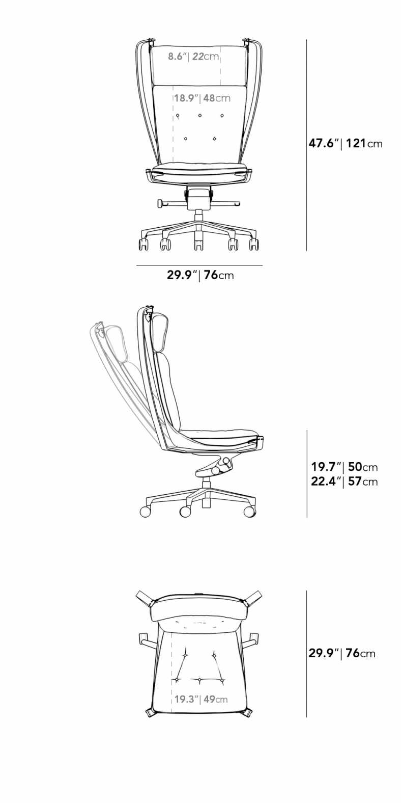 Dimensions for Andor Office Chair