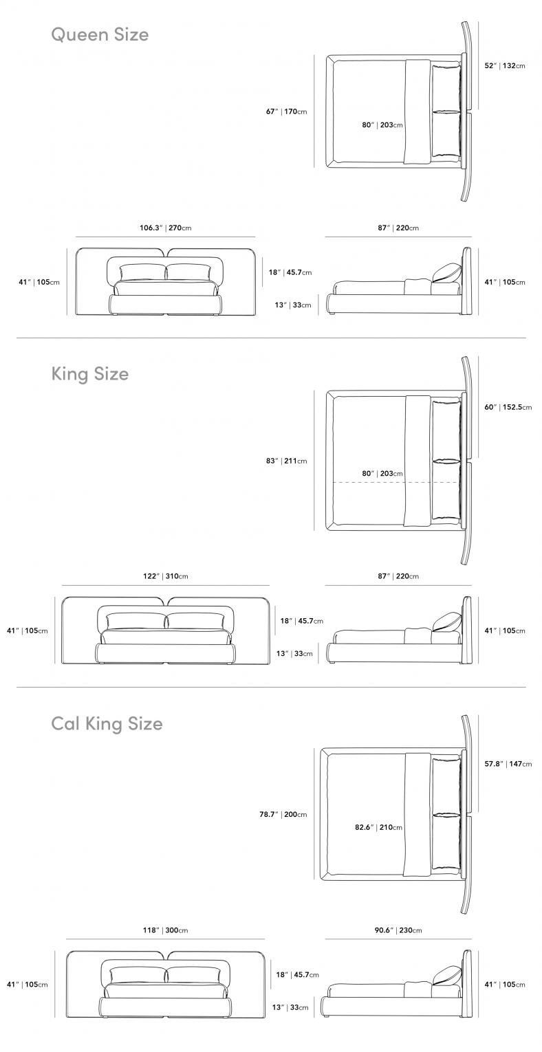 Dimensions for Angelo Bed
