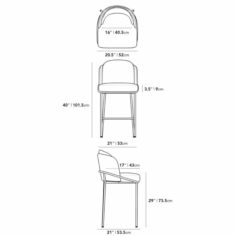 Dimensions for Angelo Barstool