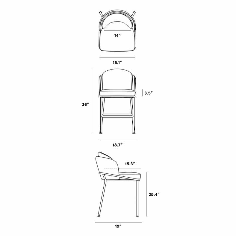 Dimensions for Angelo Counter Stool 2020