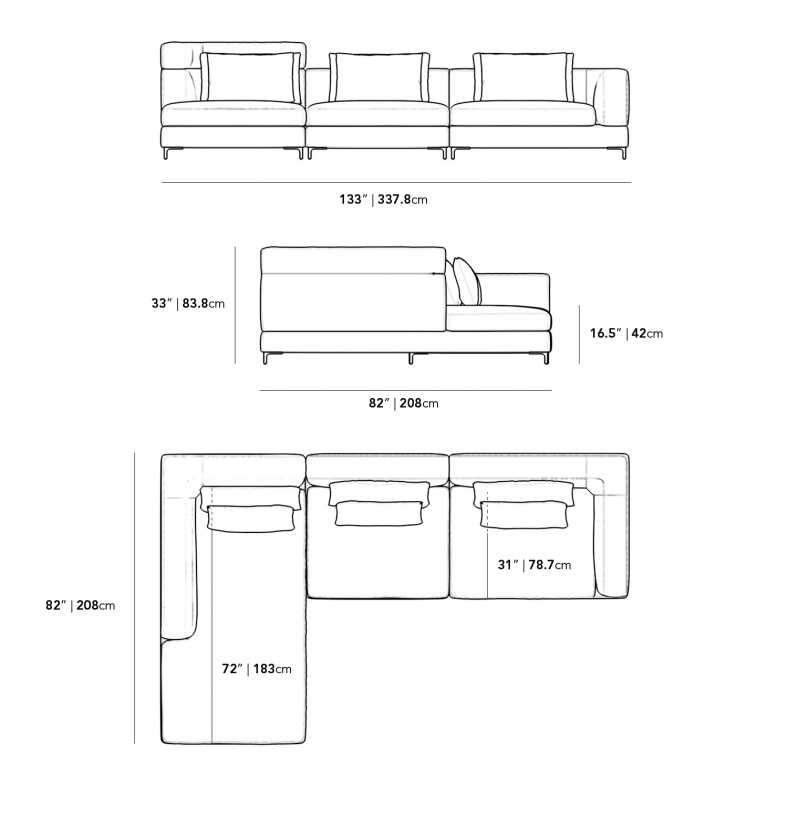 Dimensions for Antonio 3 Piece Sectional