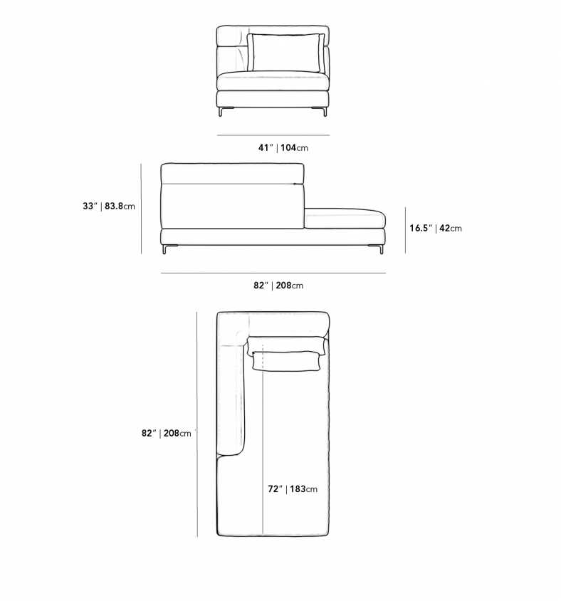 Dimensions for Antonio Left Arm Chaise - High Back