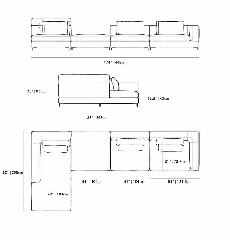 Dimensions for Antonio Modular Sectional