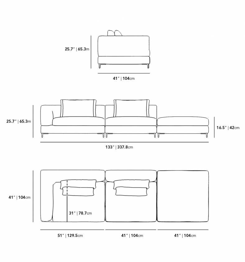 Dimensions for Antonio Open End Sofa - Low Back