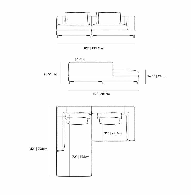 Dimensions for Antonio 2 Piece Sectional