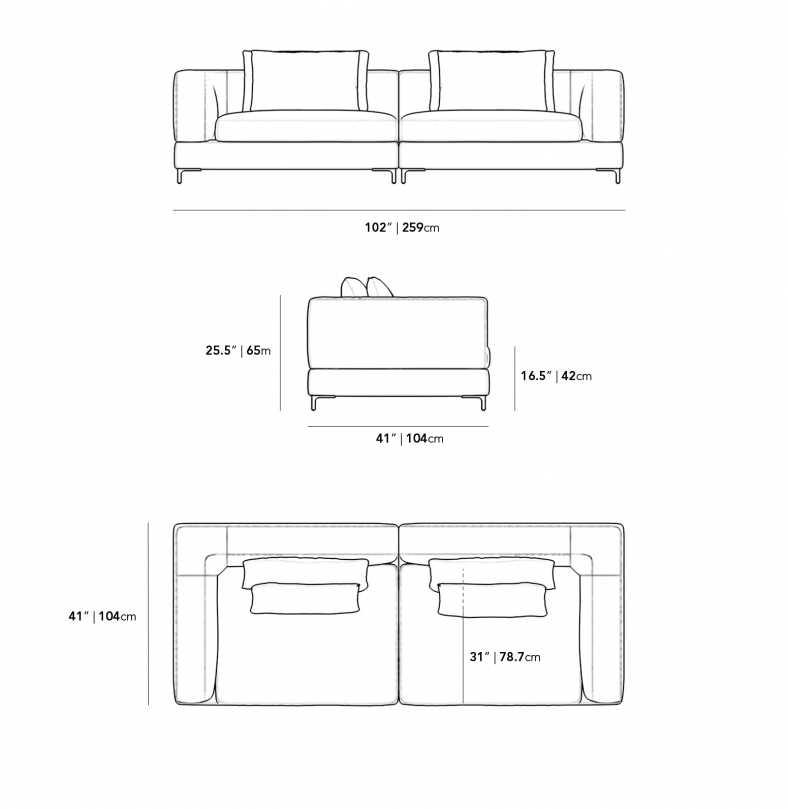 Dimensions for Antonio Sofa