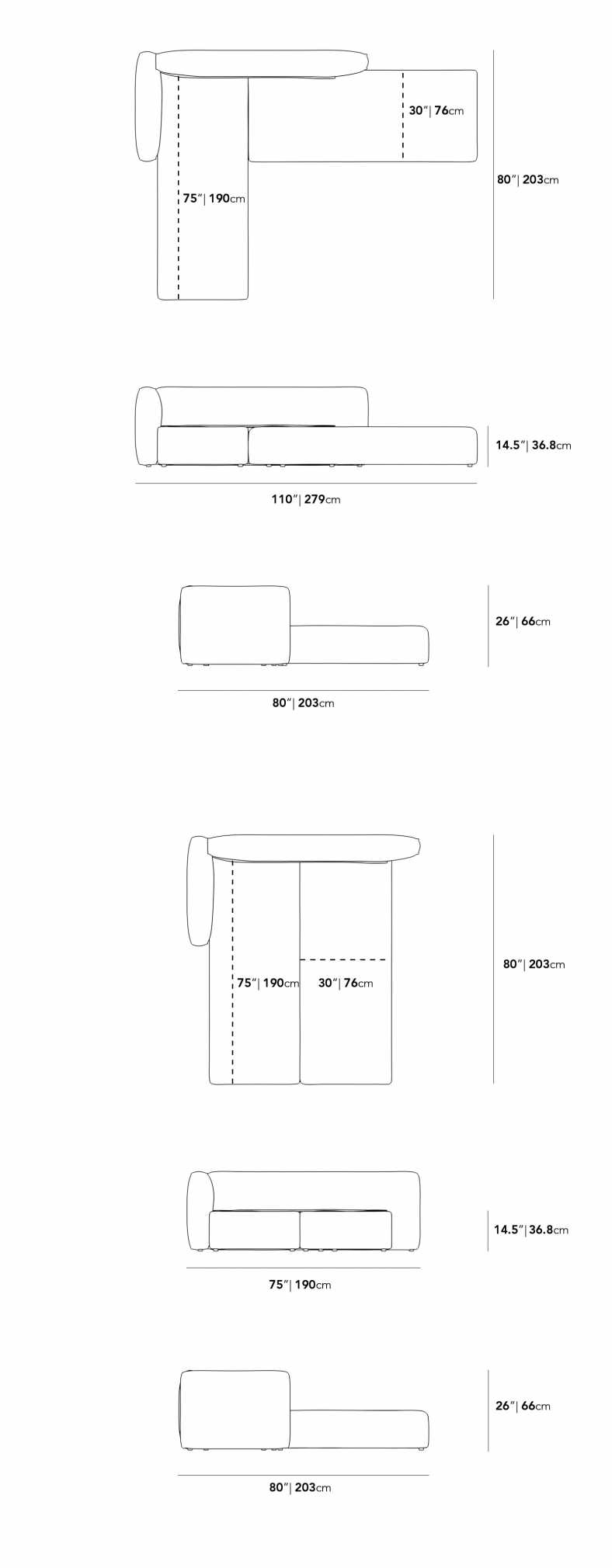 Dimensions for Arya Sleeper Sectional