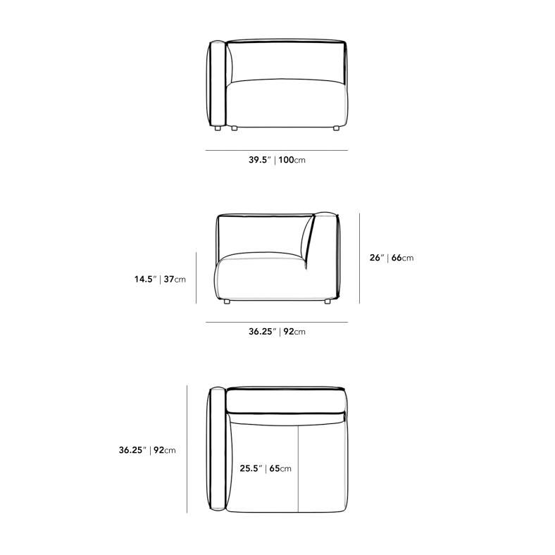 Dimensions for Arya Outdoor Left Arm