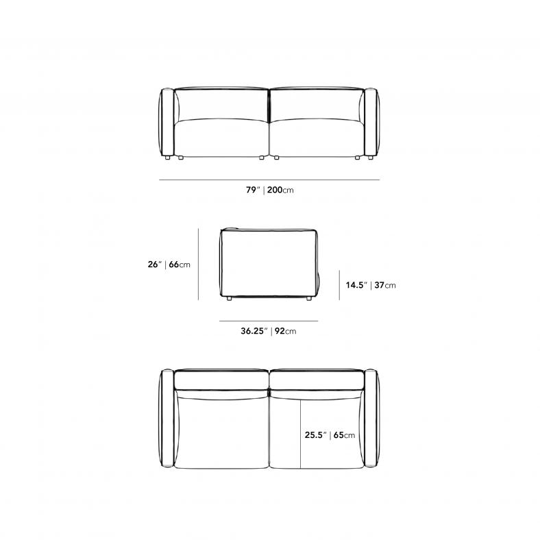 Dimensions for Arya Modular Loveseat