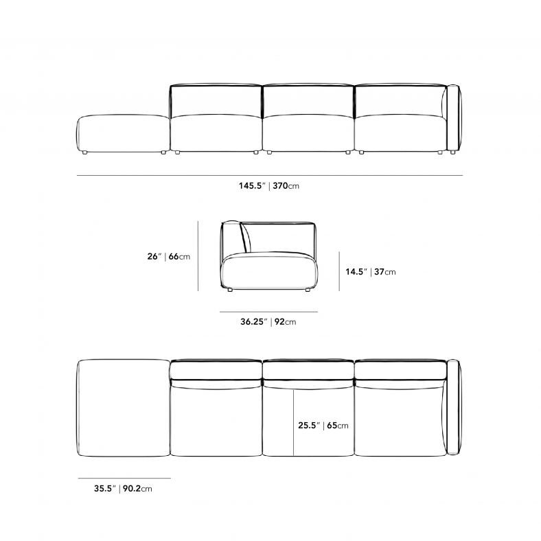 Dimensions for Arya Outdoor Modular Sectional
