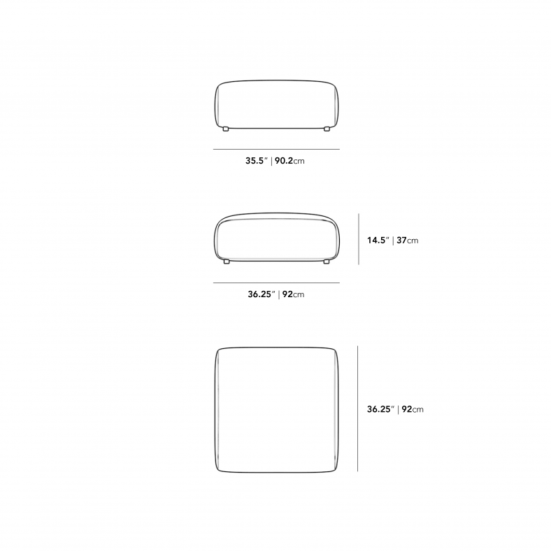 Dimensions for Arya Ottoman