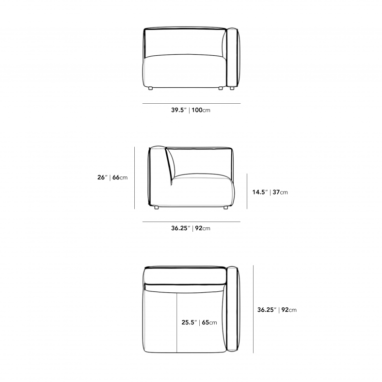 Dimensions for Arya Right Arm