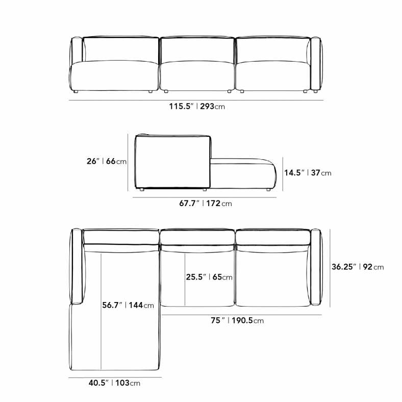 Dimensions for Arya Sectional Sofa