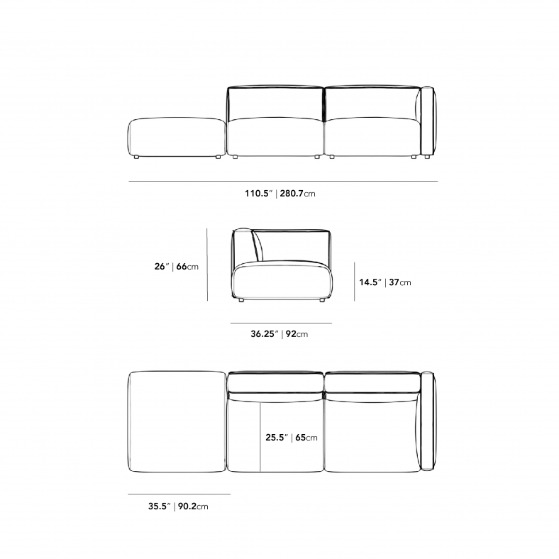 Dimensions for Arya Modular Sofa with Open End
