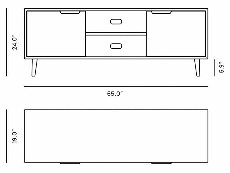 Dimensions for Asher TV Stand