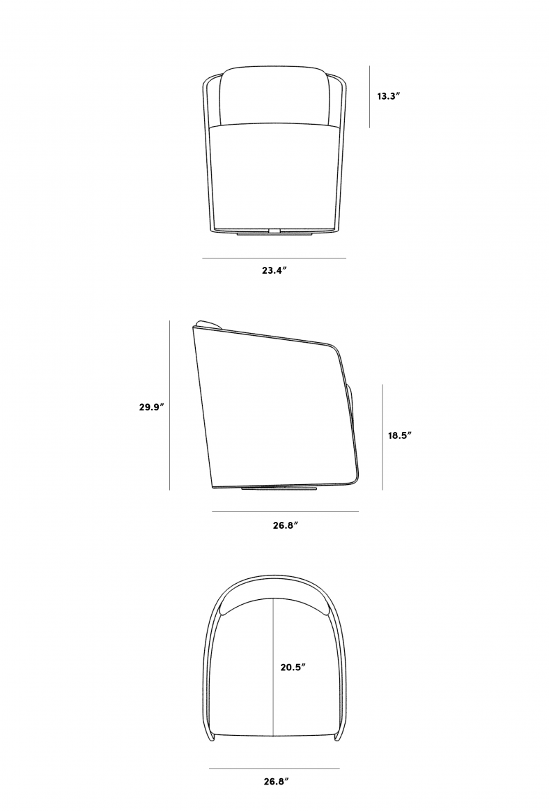 Dimensions for Atticus Chair