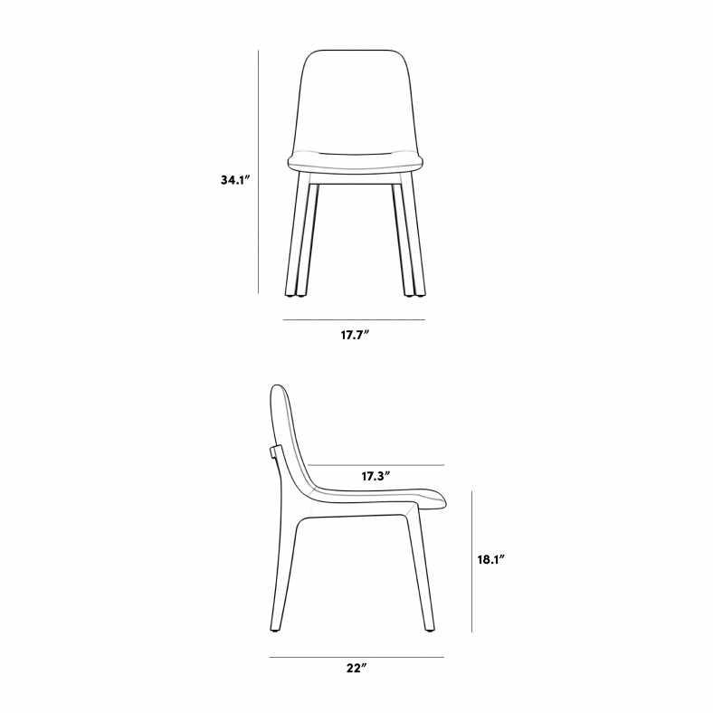 Dimensions for Aubrey Side Chair - 2020