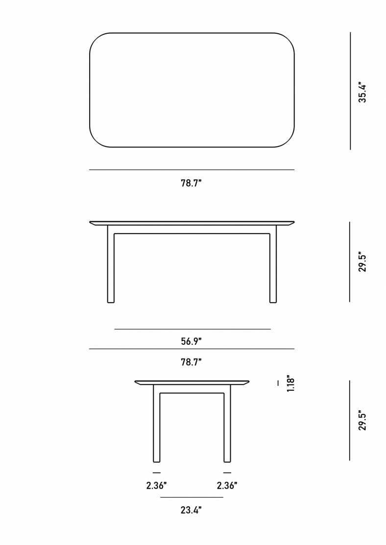 Dimensions for Augustus Dining Table