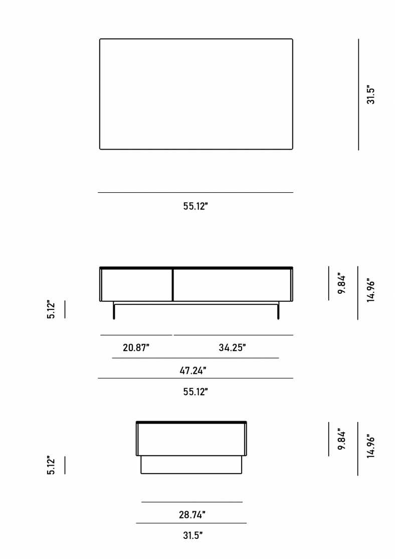 Dimensions for Augustus Coffee Table