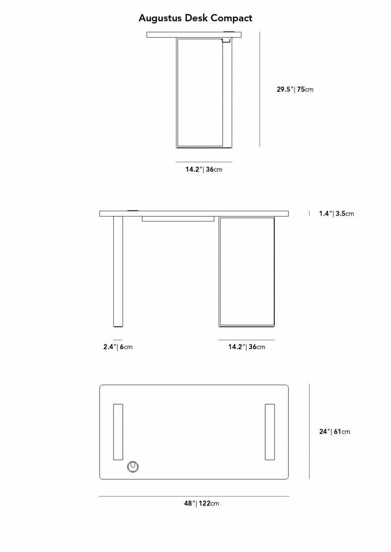 Dimensions for Augustus Desk Compact