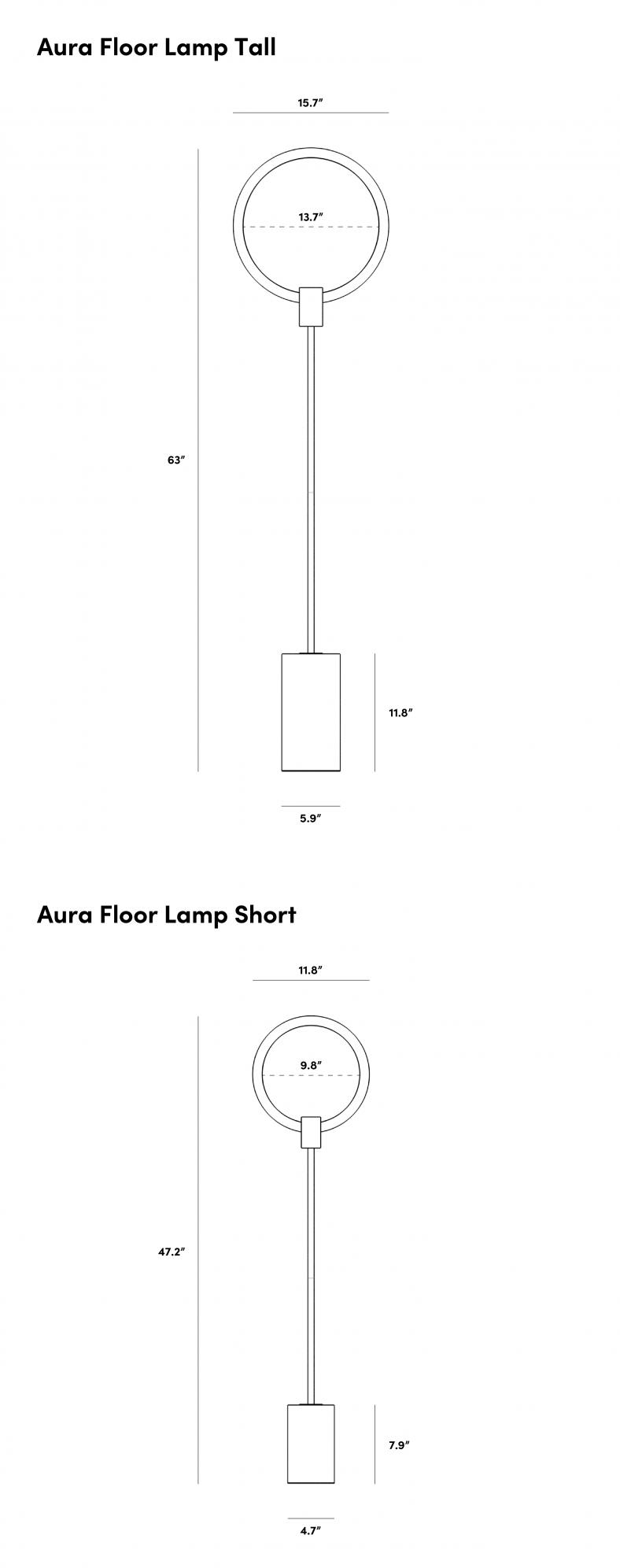 Dimensions for Aura Floor Lamp