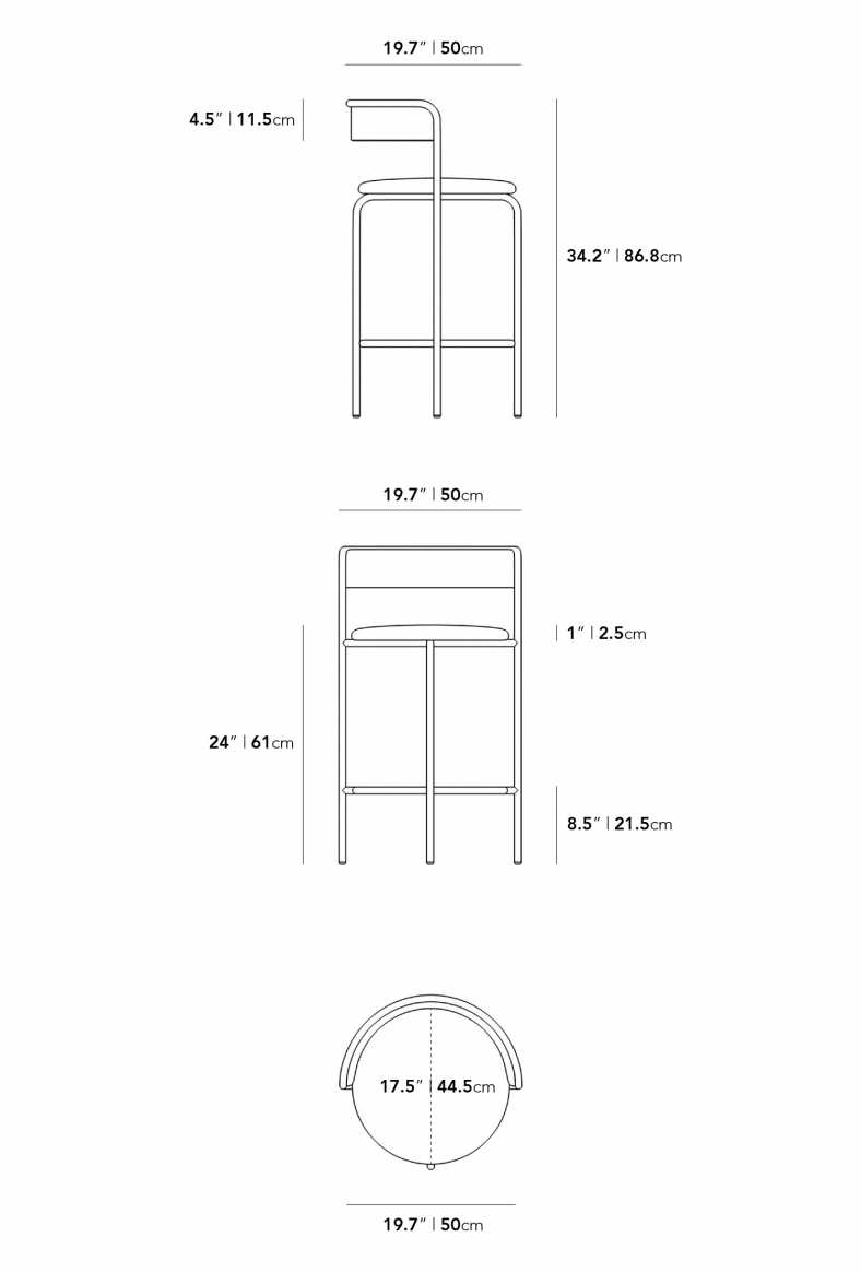 Dimensions for Ava Counter Stool
