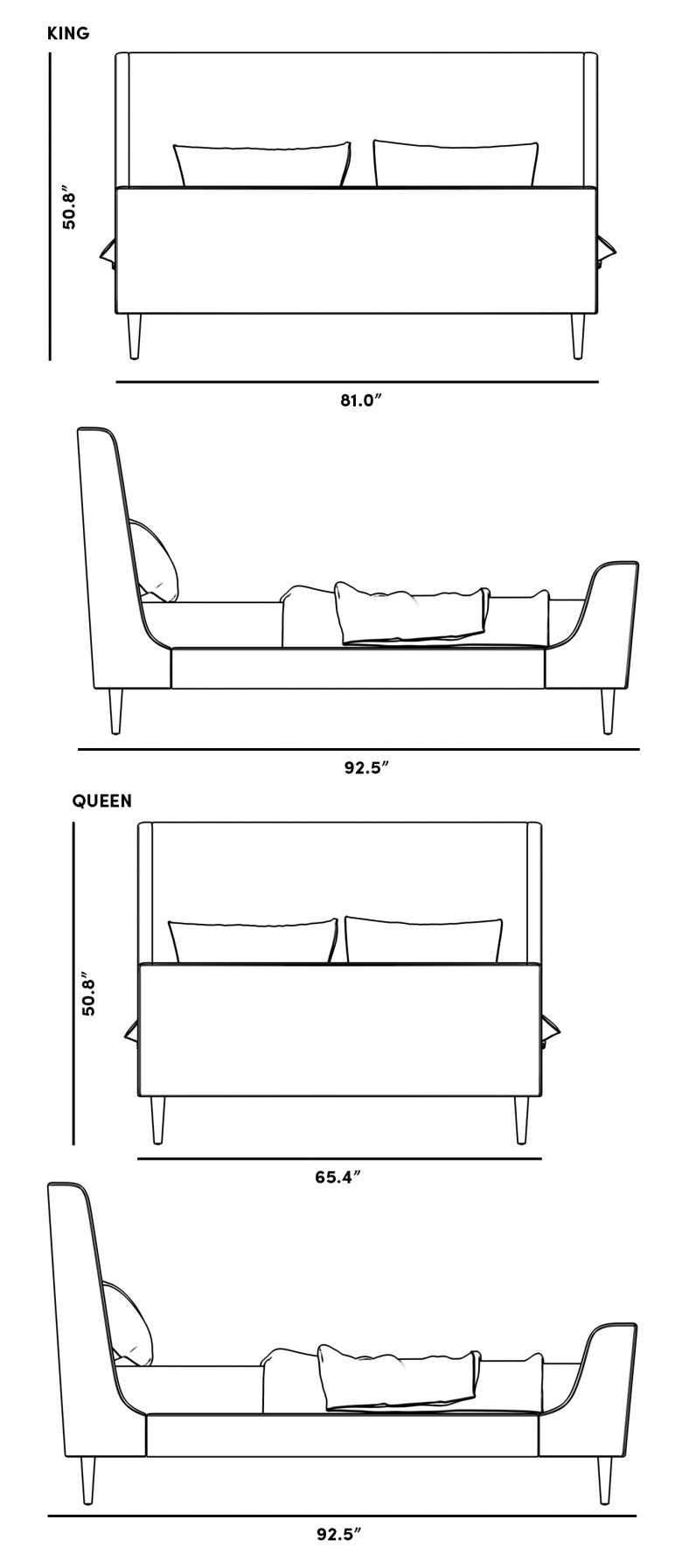 Dimensions for Ayda Bed