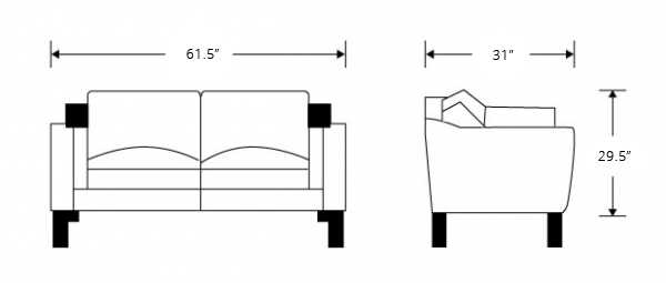 Dimensions for 2212 Loveseat - Leather