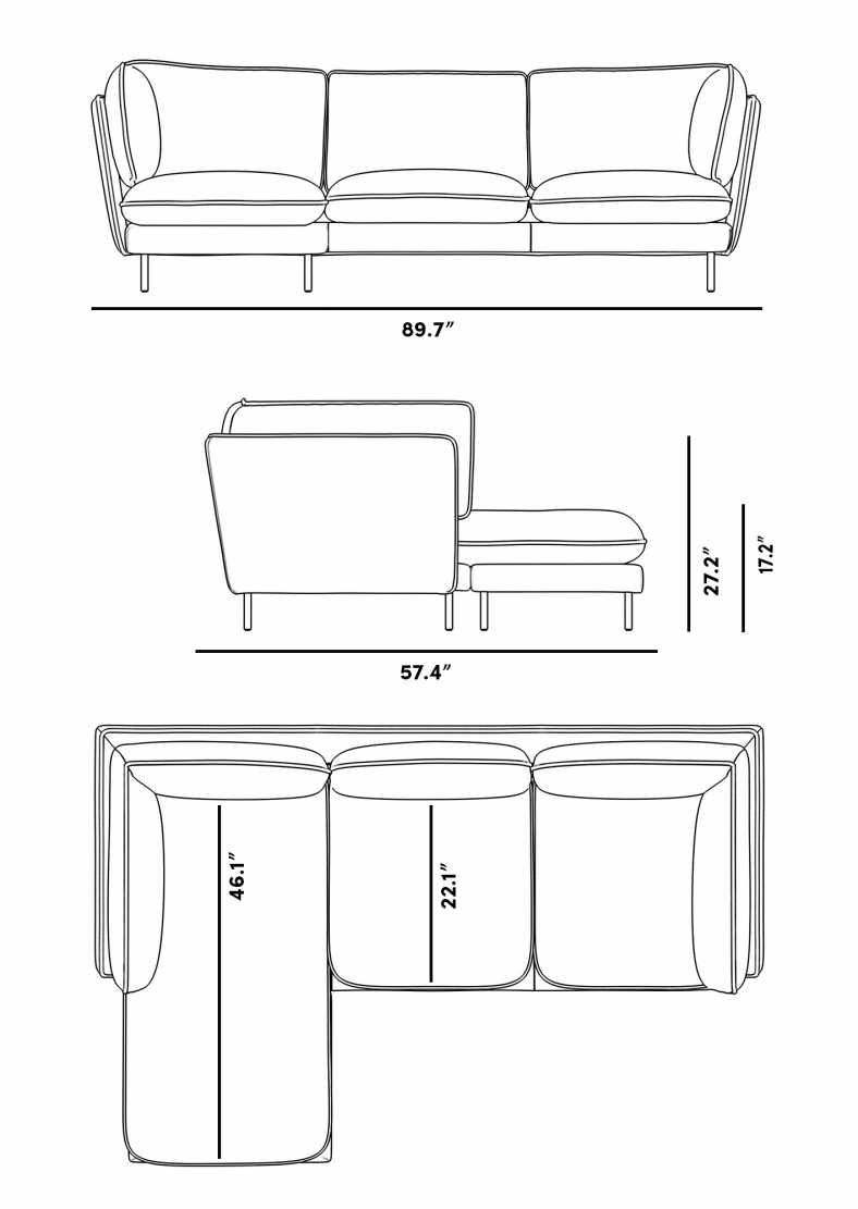 Dimensions for Barbro Sectional