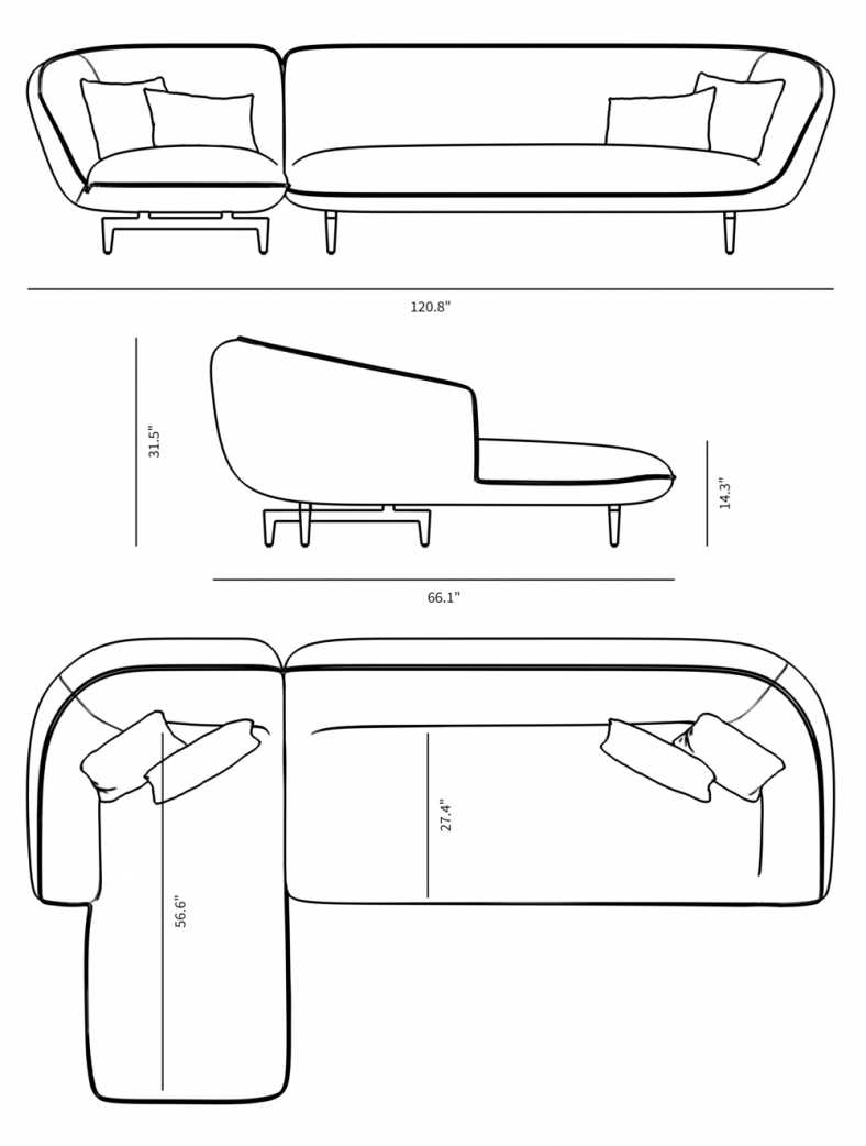 Dimensions for Benedict Sectional