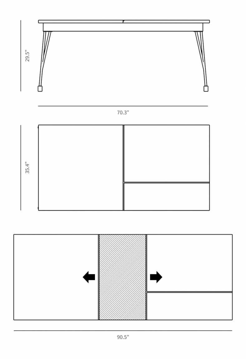 Dimensions for Bennett Dining Table