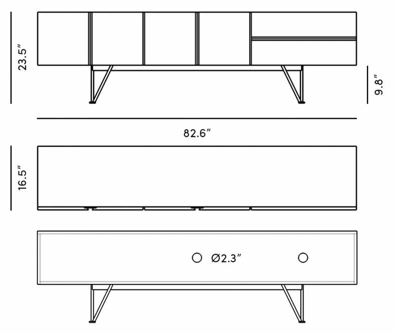 """Dimensions for Bennett Media Console - 83"""""""