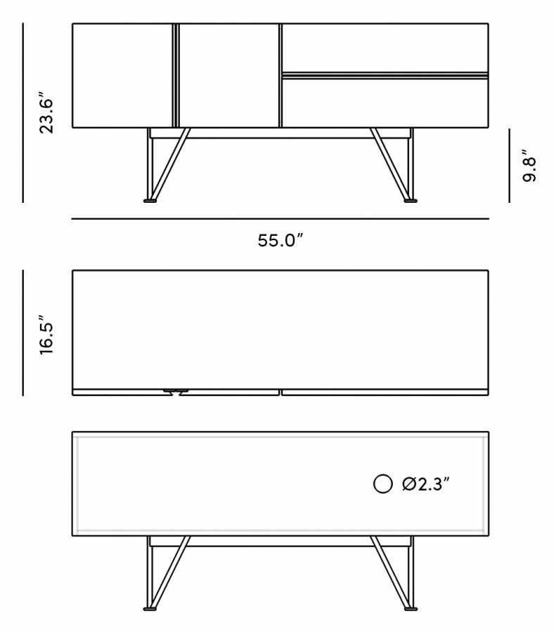 Dimensions for Bennett Media Console - 55""