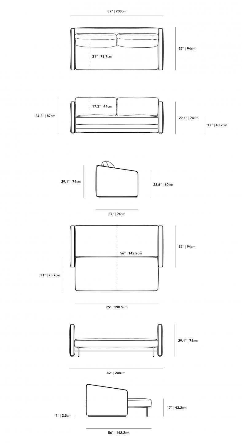 Dimensions for Bristol Futon