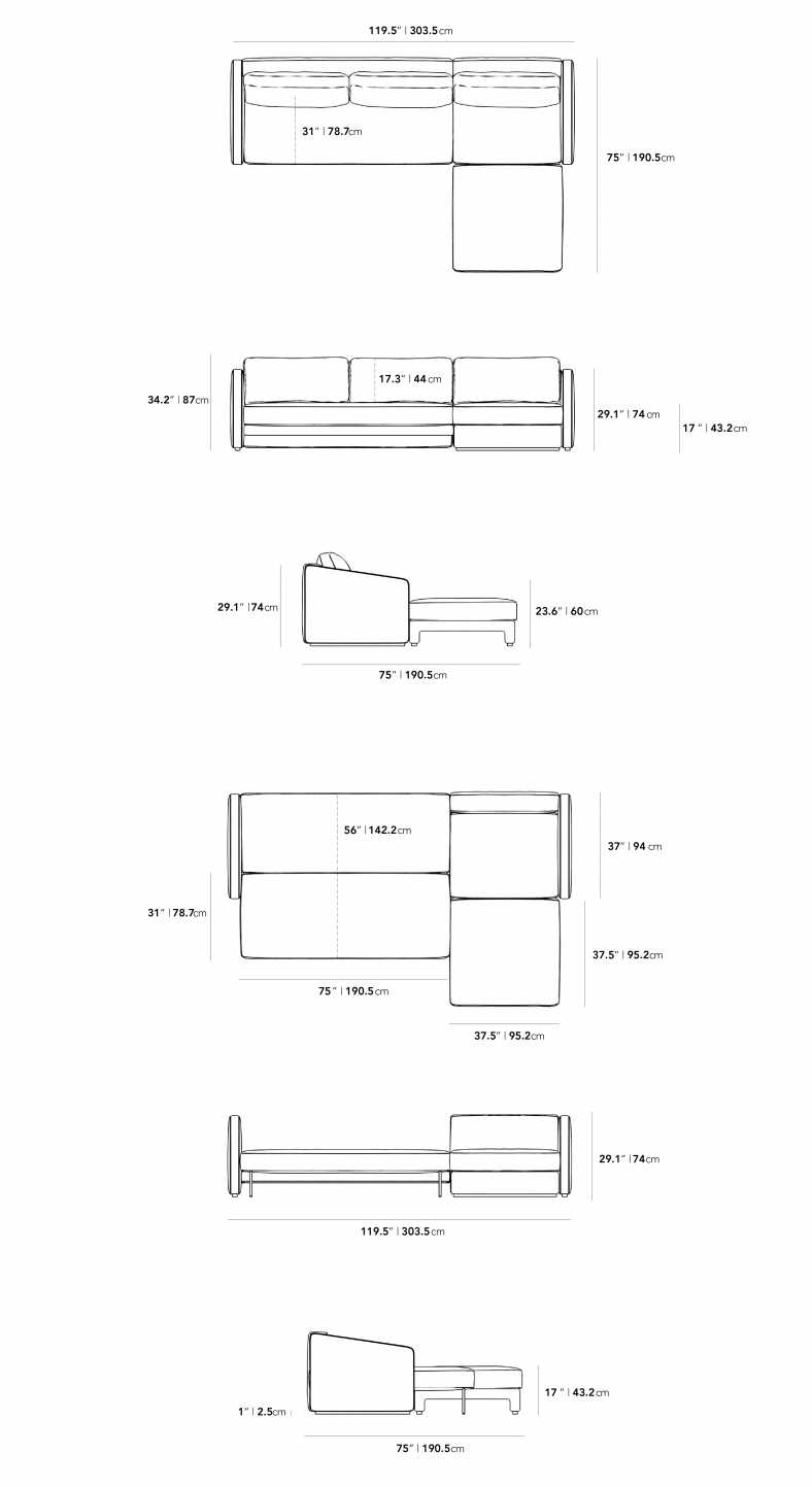 Dimensions for Bristol Sleeper Sectional