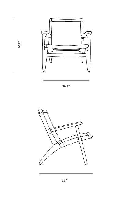 Dimensions for CH25 Easy Chair