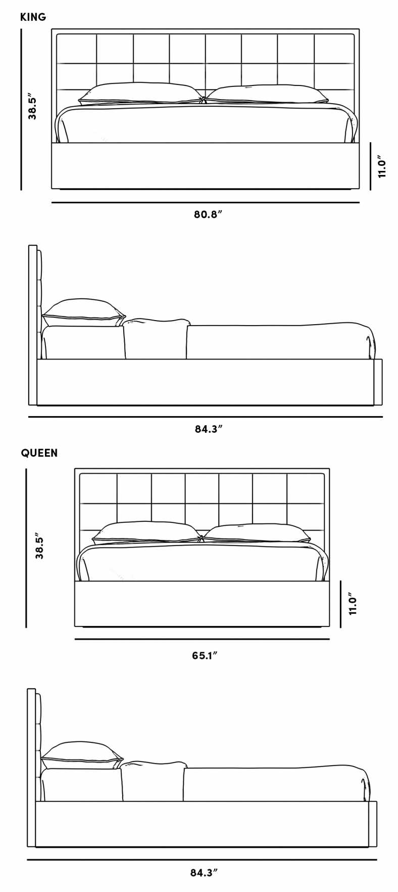 Dimensions for Charlotte Storage Bed