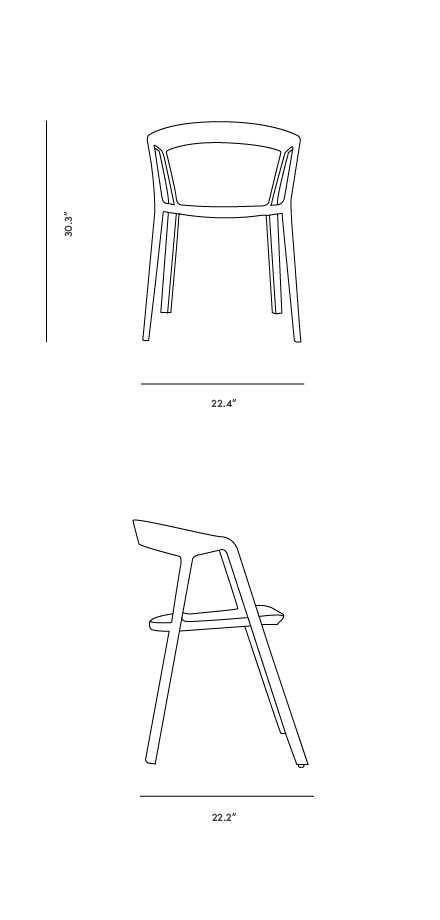 Dimensions for Compas Armchair