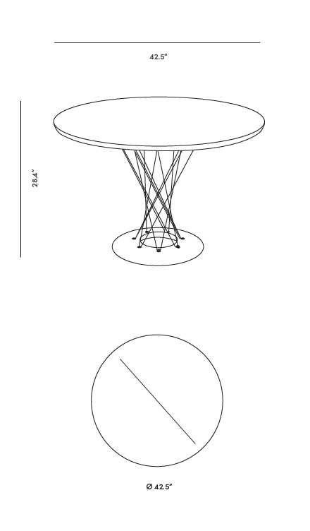 Dimensions for Cyclone Dining Table
