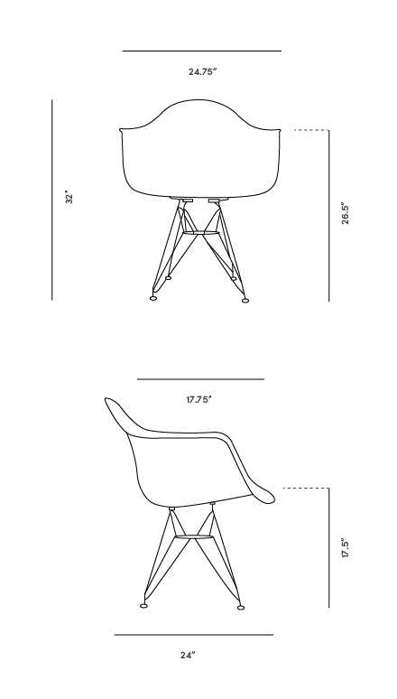Dimensions for DAR Molded Plastic Armchair