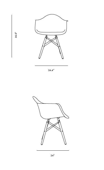 Dimensions for DAW Molded Plastic Armchair Wooden Dowel Base