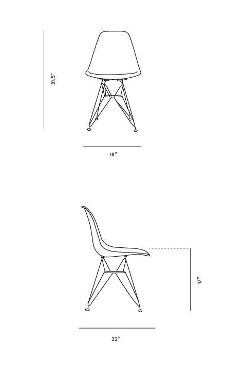 Dimensions for DSR Molded Plastic Side Chair