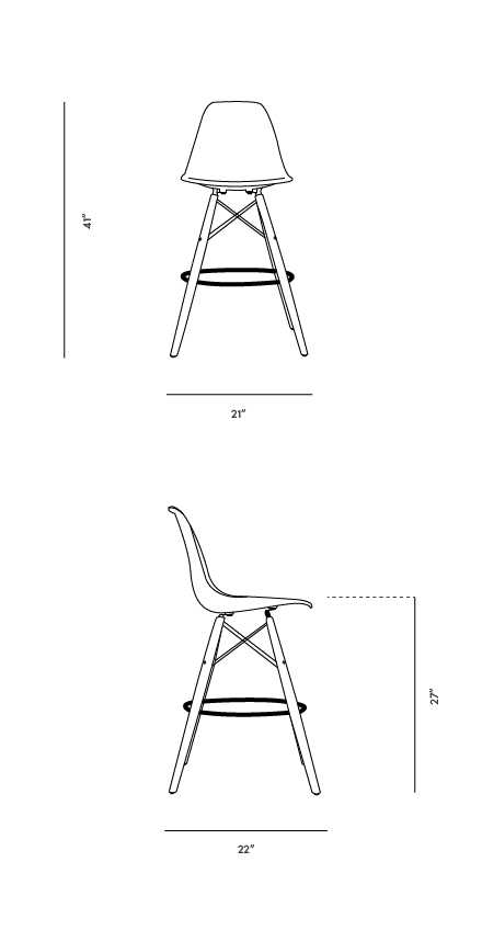Dimensions for DSW Counter Stool