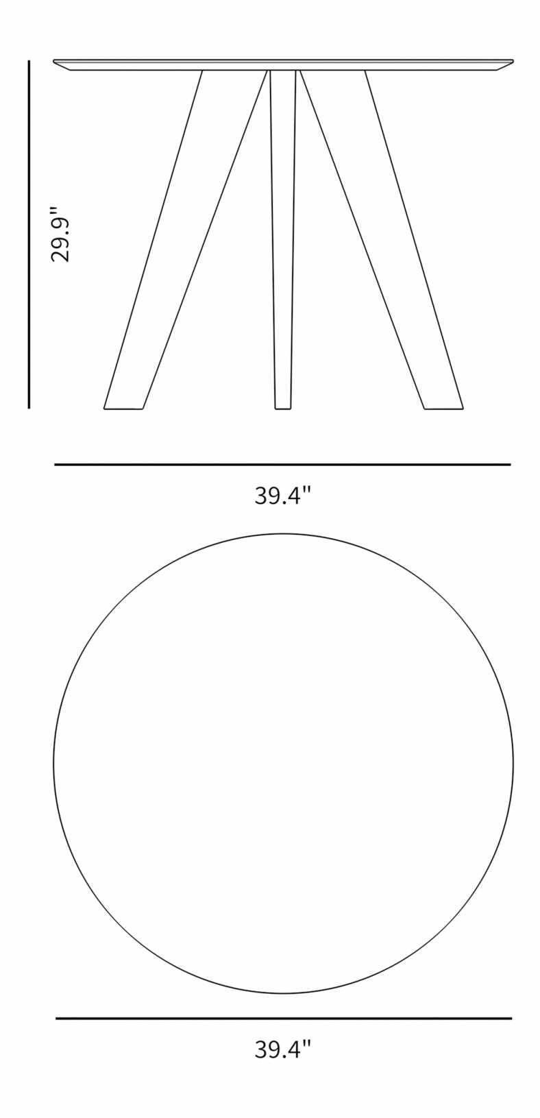 Dimensions for Dana Dining Table