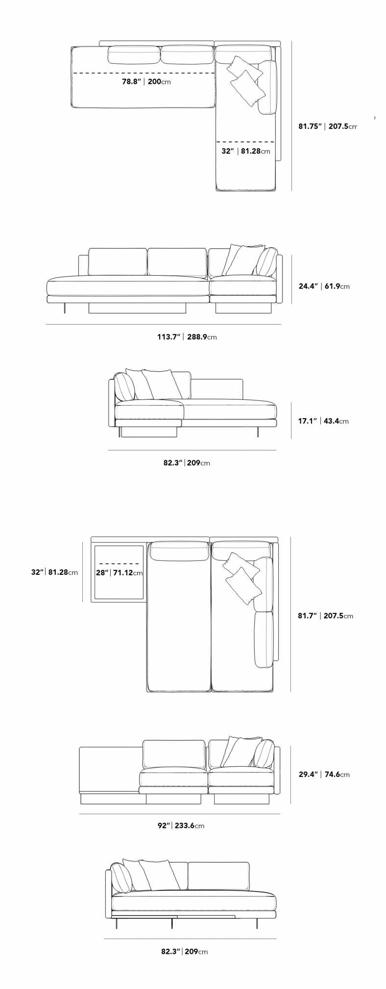 Dimensions for Dresden Sleeper Sectional